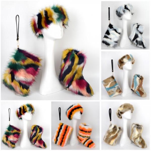 Fluffy Faux Fur Boots Fur Headband Fur Wristlet Bag Set
