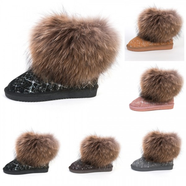Glamorous Winter Ankle Boots with Fur Trim Ladies Starry Print Short Suede Boots