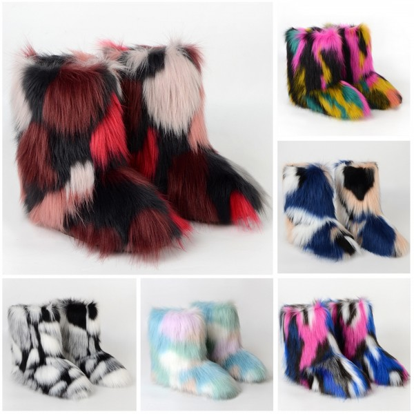 Fluffy All Fur Boots Mixed Color Winter Short Furry Booties