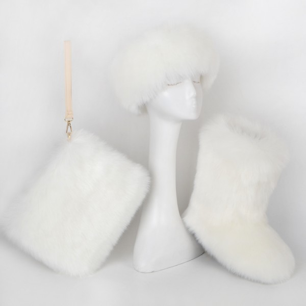 White Fluffy Faux Fur Boots with Matching Headband and Wristlet Bag Set