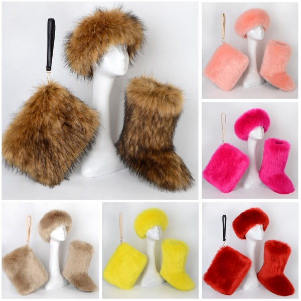 Colorful Fluffy Faux Fur Boots with Matching Color Headband Wristlet Bag Set