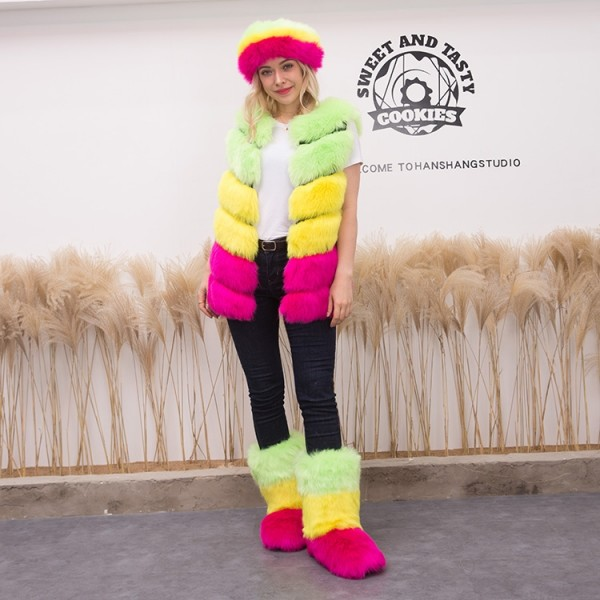 Women Fluffy Faux Fur Vest with Matching Headband and Boots Set