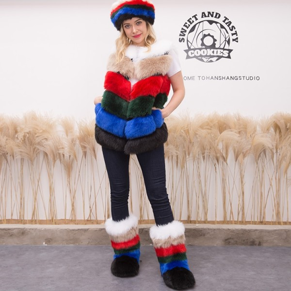 Women's Multicolor Faux Fur Vest with Matching Fur Boots and Fur Headband Set