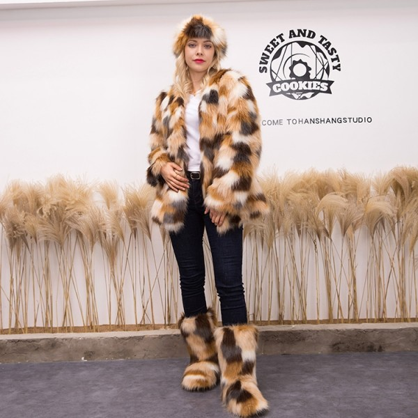 Brownish Fluffy Faux Fur Coat with Matching Fur Boots and Headband Set