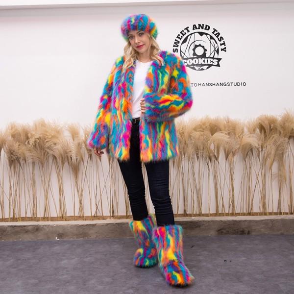 Luxury Multicolor Faux Fur Coat Fur Boots Headband 3 Items Set for Women