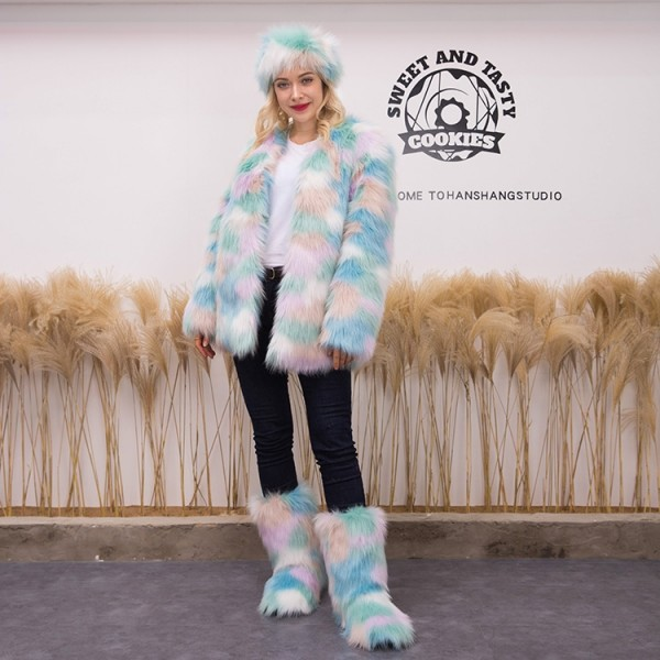 Women's Long Faux Fur Coat with Matching Color Boots and Headband Set
