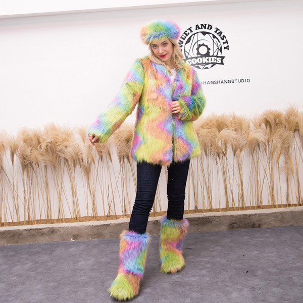 Women's Fluffy Faux Fur Coat with Matching Color Boots and Headband Set