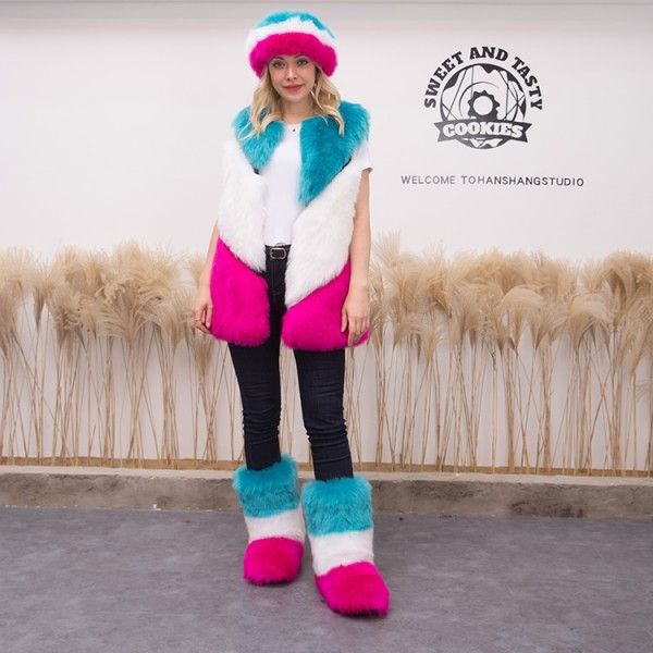 Colorblocked Winter Faux Fur Vest with Matching Fur Boots Headband Set