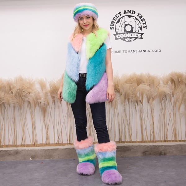 Colorful Faux Fur Vest with Matching Fluffy Boots and Headband 3 Items Set
