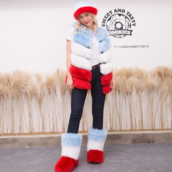 Women's Sleeveless Faux Fur Vest Jacket Fur Boots Headband Three Items Set