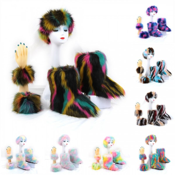 Multicolor Faux Fur Boots with Matching Fur Headband and Sleeves Cuffs Set