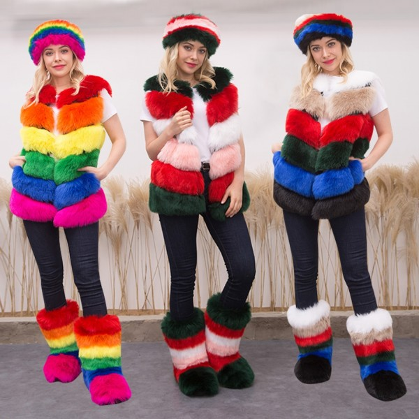 Colorful Women's Faux Fur Vest Jacket with Matching Headband and Fur Boots Set