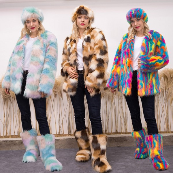 Winter Multicolor Faux Fur Coat with Matching Headband and Boots Set