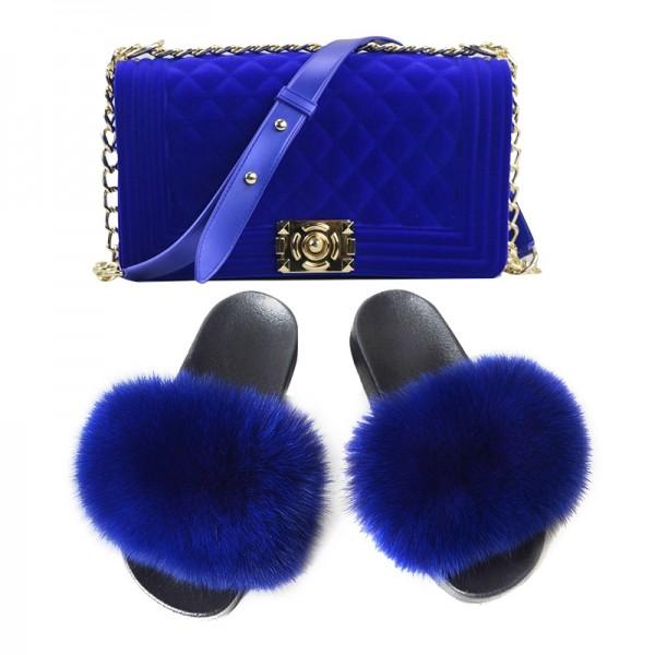 Stunning Fluffy Fur Slides with Matching Velvet Shoulder Bag Set