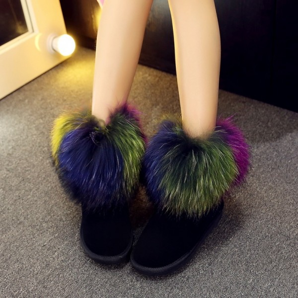Women's Black Ankle Boots with Colorful Fur Trim