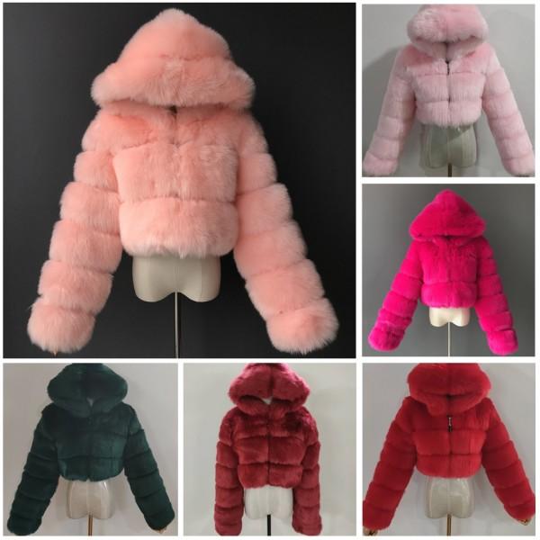 Women's Short Faux Fur Coat Hooded Cropped Fur Jacket