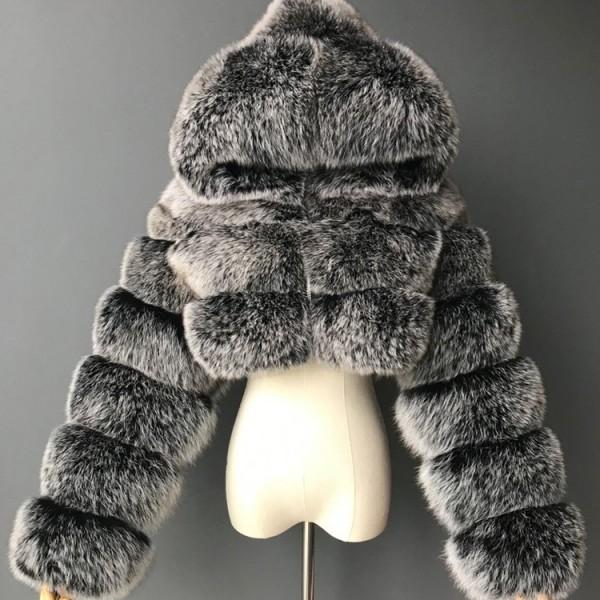 Women Short Faux Fur Coat Hooded Long Sleeves Fur Jacket
