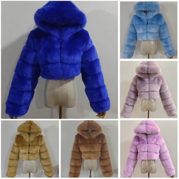 Winter Fluffy Faux Fur Coat Women Hooded Cropped Fur Jacket