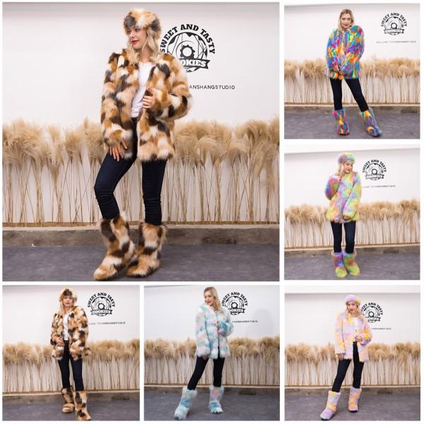 Women Luxury Faux Fur Coat Fluffy Long Sleeves Jacket Outerwear