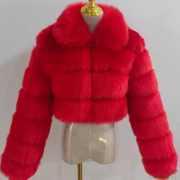 Luxury Women's Faux Fur Coat Spread Collar Short Fur Jacket