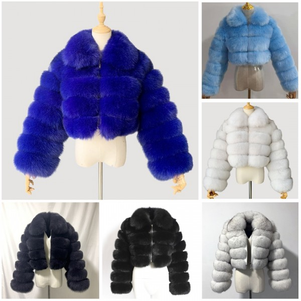 Fluffy Faux Fur Jacket Women's Collar Short Coat Outerwear