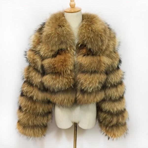 Brown Faux Fur Jacket Spread Collar Short Fur Coat Outerwear