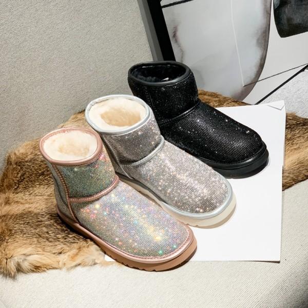 Women's Rhinestone Boots Glittering Winter Flat Ankle Booties