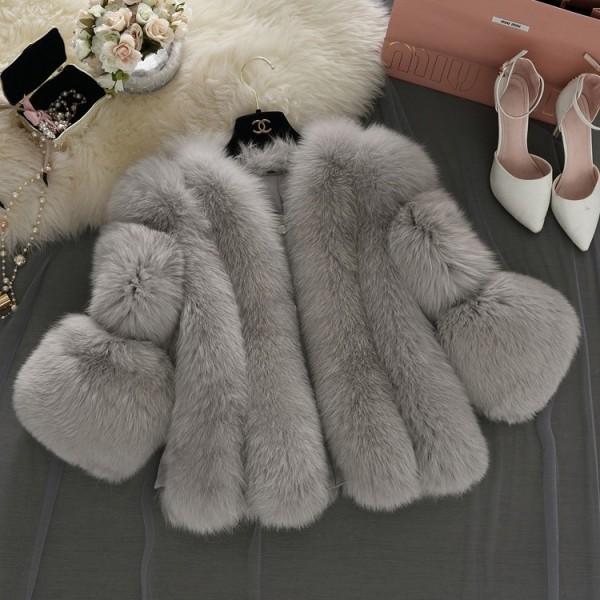 Women's Collarless Faux Fur Jacket Bell Sleeves Faux Fur Coat