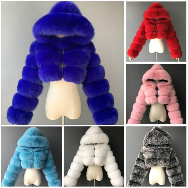Fashion Winter Faux Fur Jacket Hooded Women's Fluffy Fur Coat