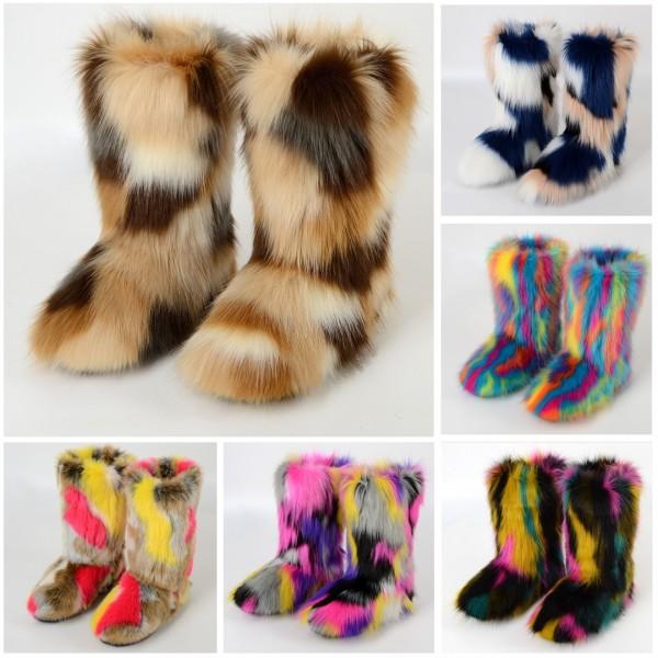 Fluffy Faux Fur Boots Women's Multicolor All Fur Fuzzie