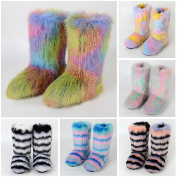 Women Faux Fur Boots Mid Calf Fluffy Yeti Boots