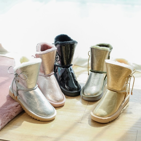 Glossy Leather Ankle Boots Women's Shearling Winter Booties