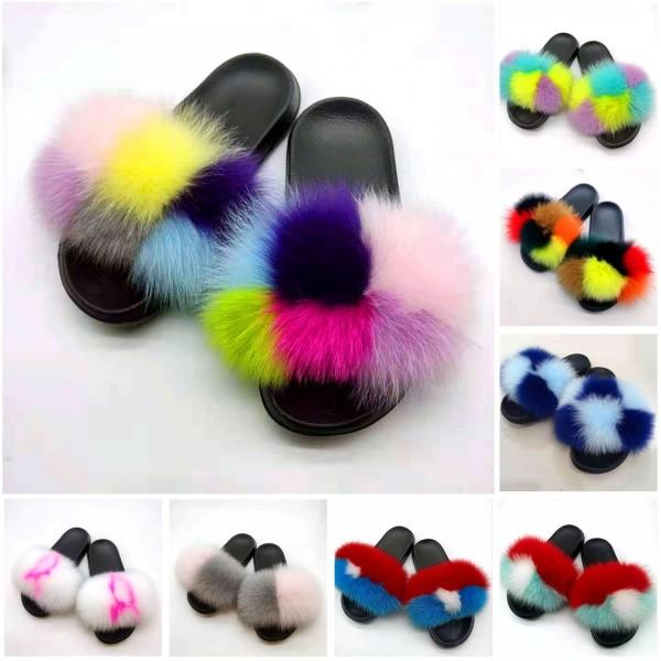 Rainbow Fur Slides Women's Summer Furry Sandals