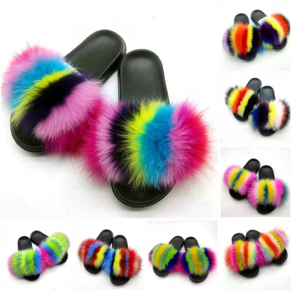 Colorful Real Fur Slides Rainbow Furry Slippers