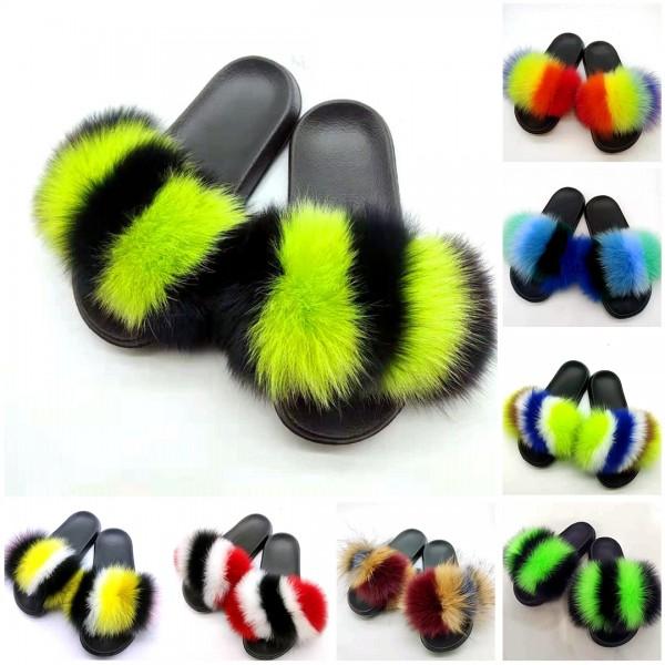 Latest Fox Fur Slides Furry Open Toe Women's Flat Slippers