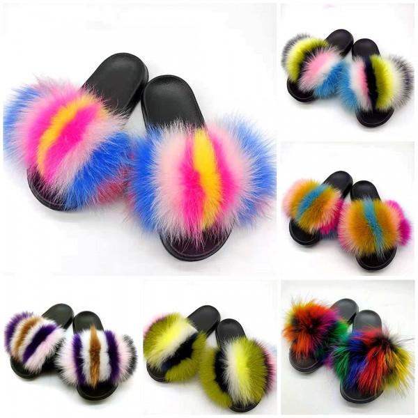 Furry Flat Slippers Fashion Fox Fur Slides For Women