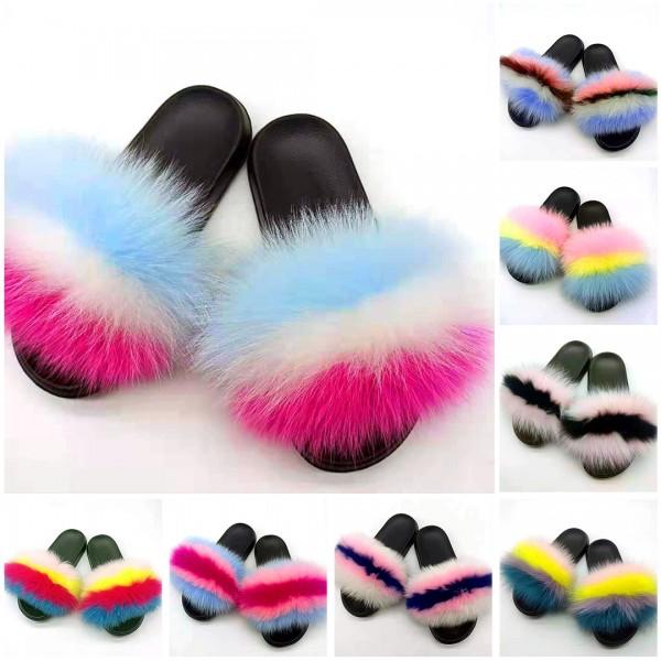 Chic Fox Fur Slides Furry Open Toe Flat Slippers For Women