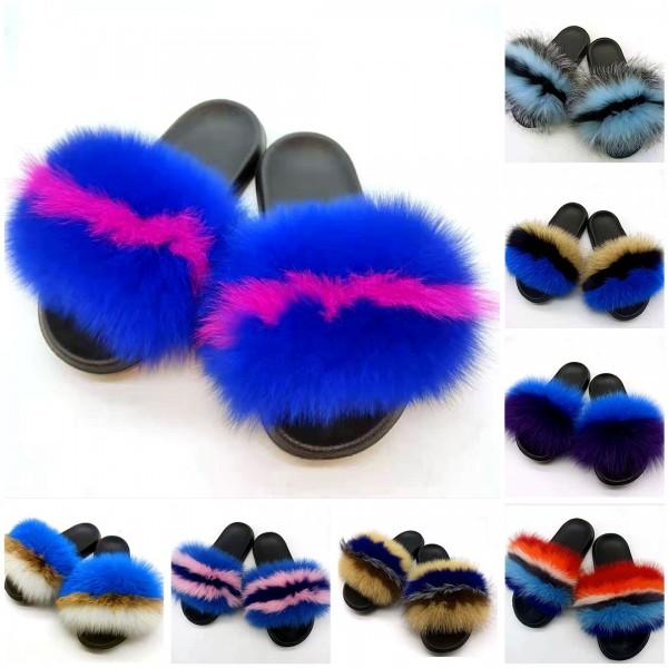 Women's Open Toe Fur Slipper Slides Soft and Fluffy Fur Sandals