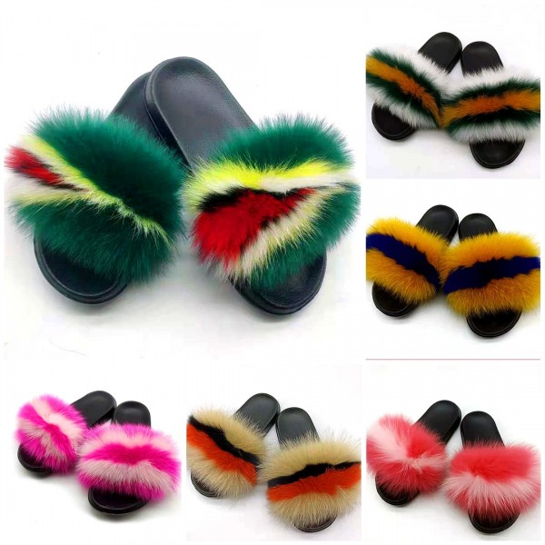 Newest Furry Slides For Ladies Open Toe Real Fur Sandals