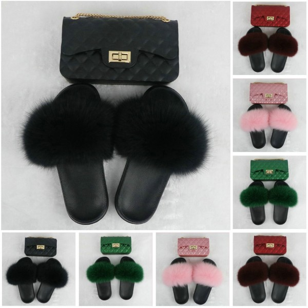 Black Furry Slides with Matching Color Chain Strap Purse