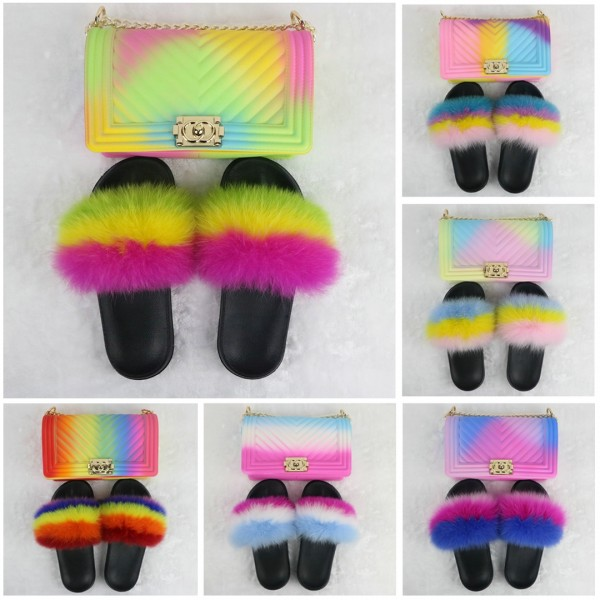 Rainbow Furry Slides with Matching Chain Purses