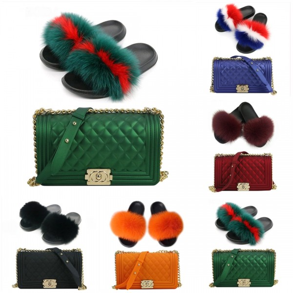 Fashion Furry Slides with Matching Color Crossbody Handbags