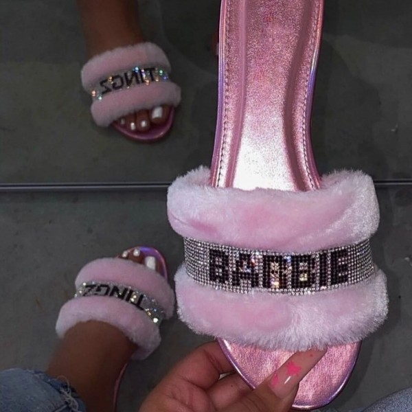 Shiny Pink Slides Women's Rhinestones Letters Fuzzy Slippers