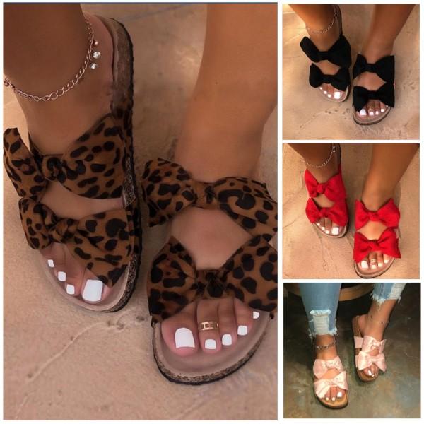 Cute Leopard Bow Tie Sandals Flat Flip Flop Slippers