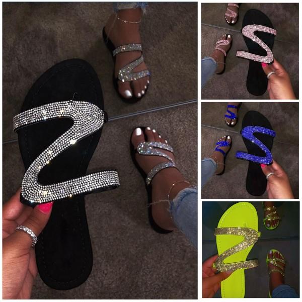 Shiny Rhinestones Thong Slippers Summer Flat Sandals