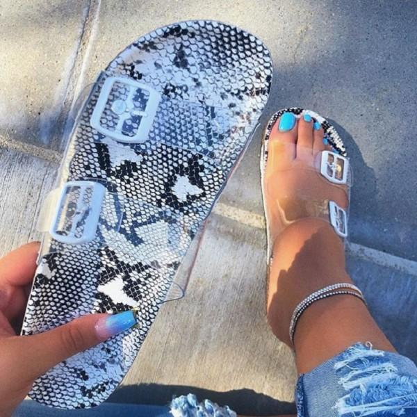 Chic Snakeskin Print Sandals Transparent Summer Flat Slides