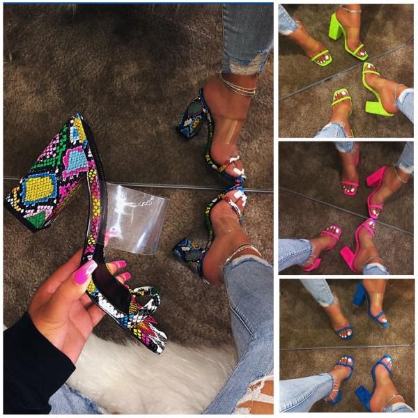 Chic High-Heeled Sandals Snakeskin Print Pump Slippers