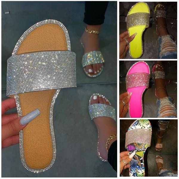 Shiny Rhinestones Flat Sandals Silver Wide Slippers