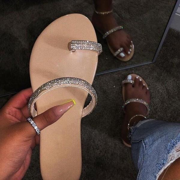 Shiny Toe Ring Sandals Rhinestones Women's Slide Sandals