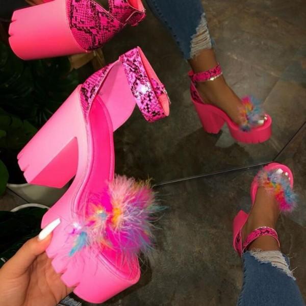 Hot Pink Platform Sandals Women's High Heel Pump Shoes